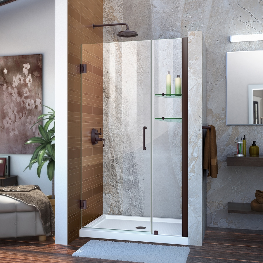 DreamLine Unidoor 36-in to 37-in Frameless Oil Rubbed Bronze Hinged Shower Door