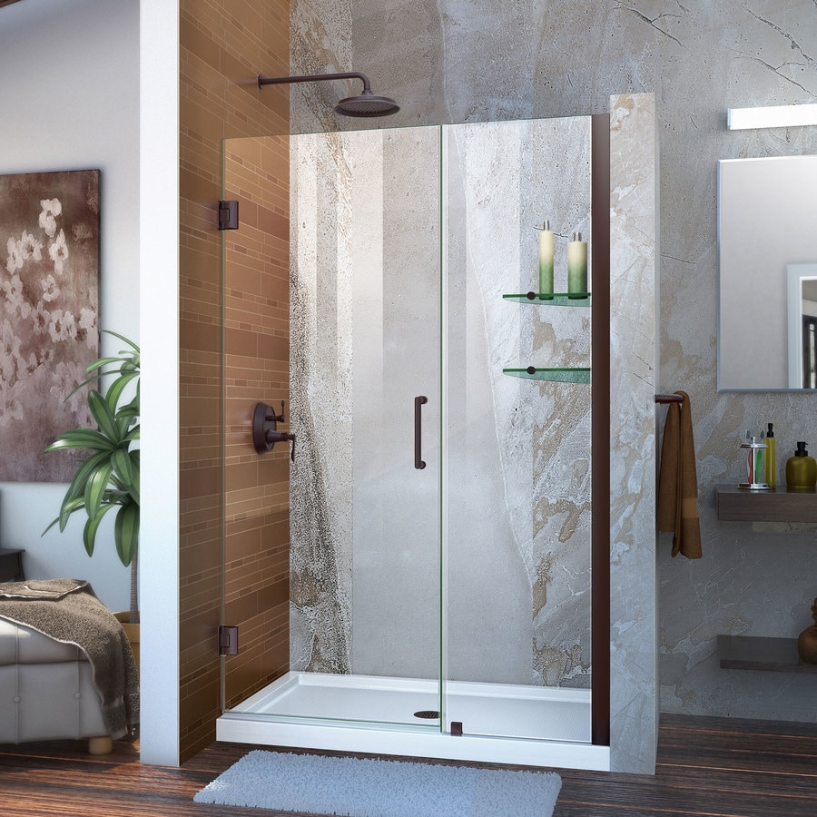 DreamLine Unidoor 46-in to 47-in W Frameless Oil Rubbed Bronze Hinged Shower Door