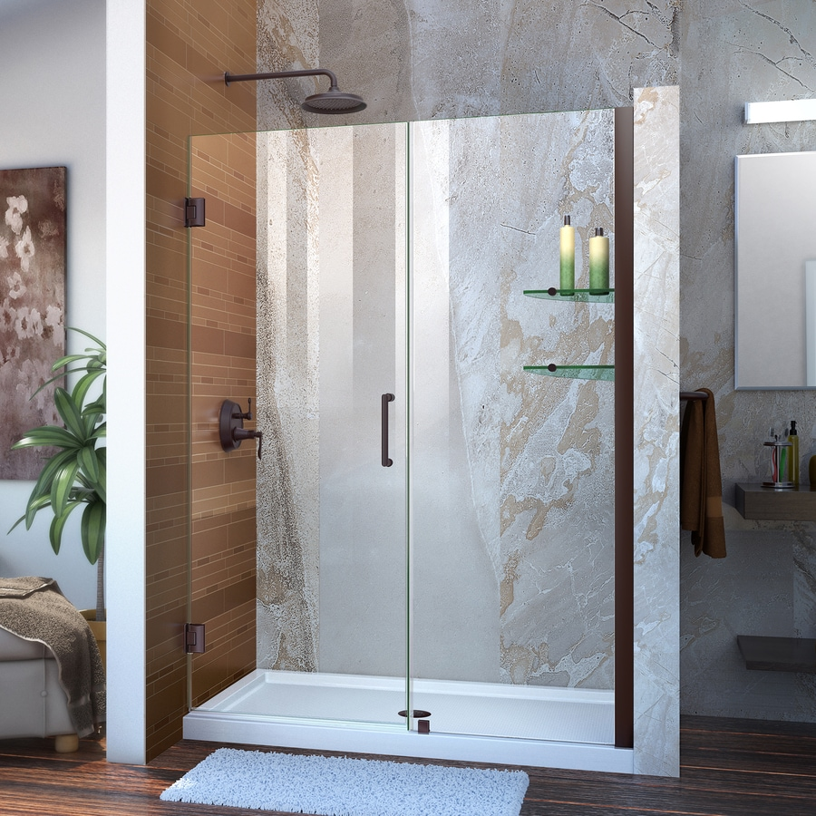 DreamLine Unidoor 53-in to 54-in W Frameless Oil Rubbed Bronze Hinged Shower Door