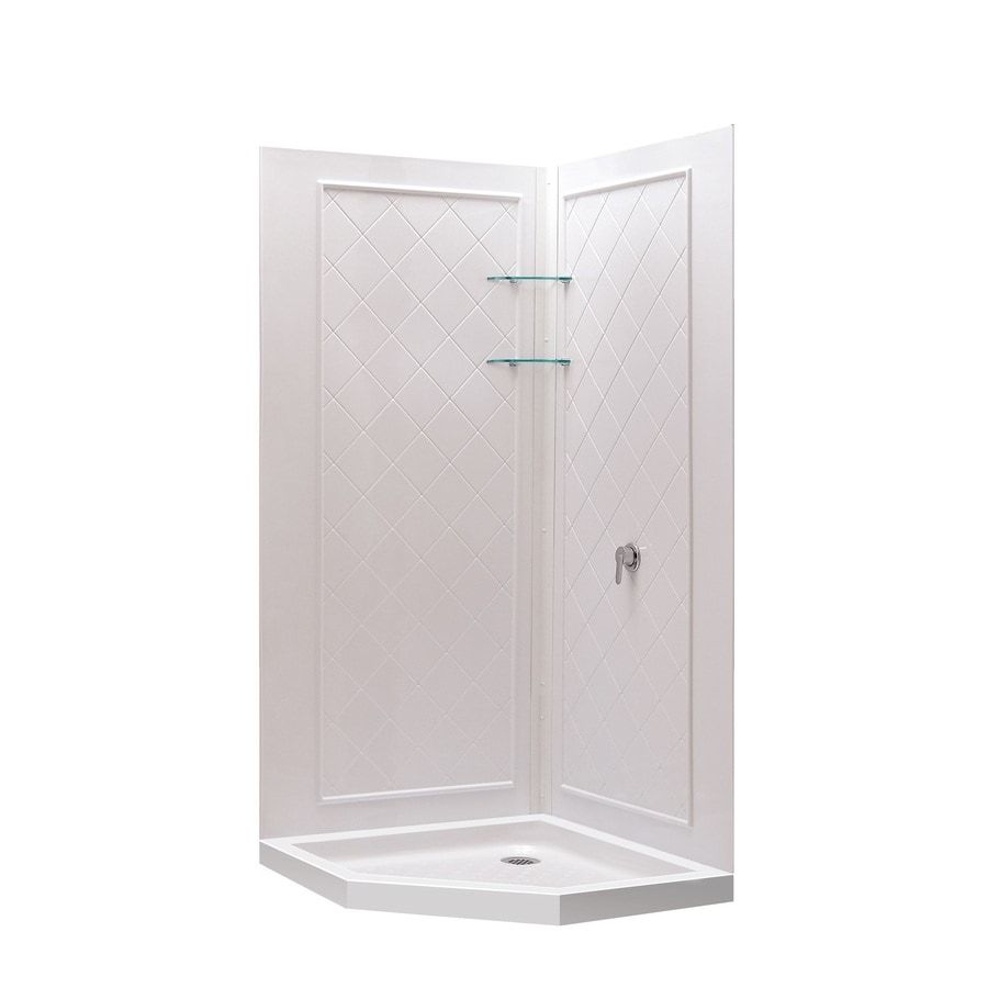 dreamline shower backwall kit white acrylic wall and floor neoangle 3piece corner - Dreamline Shower