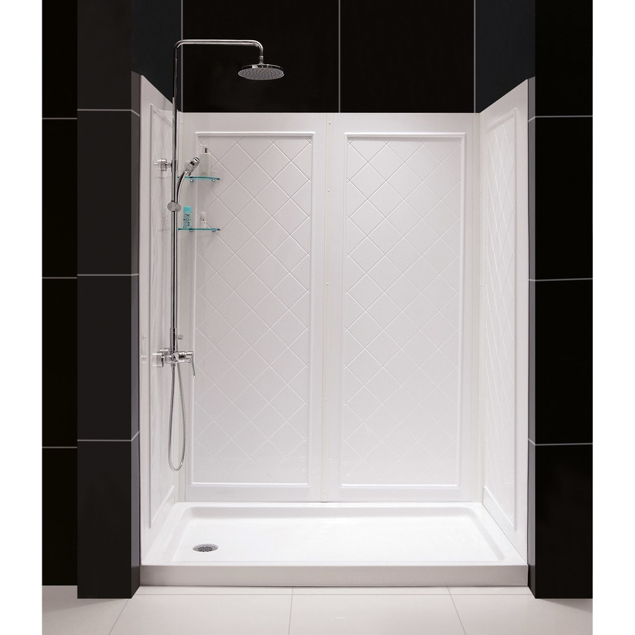 DreamLine Shower base and back walls White 2-Piece Alcove Shower Kit (Common: 30-in x 60-in; Actual: 30-in x 60-in)