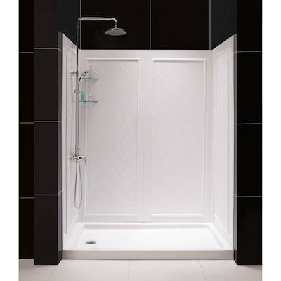 Qwall 5 White 2 Piece Alcove Shower Kit Common 32 In X 60 Actual