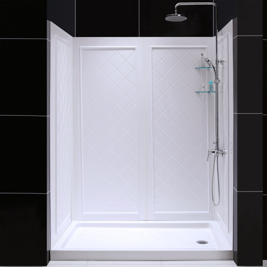DreamLine Shower Base and Back Walls White Acrylic Wall Acrylic Floor 2-Piece Alcove Shower Kit (Common: 32-in x 60-in; Actual: 76.75-in X
