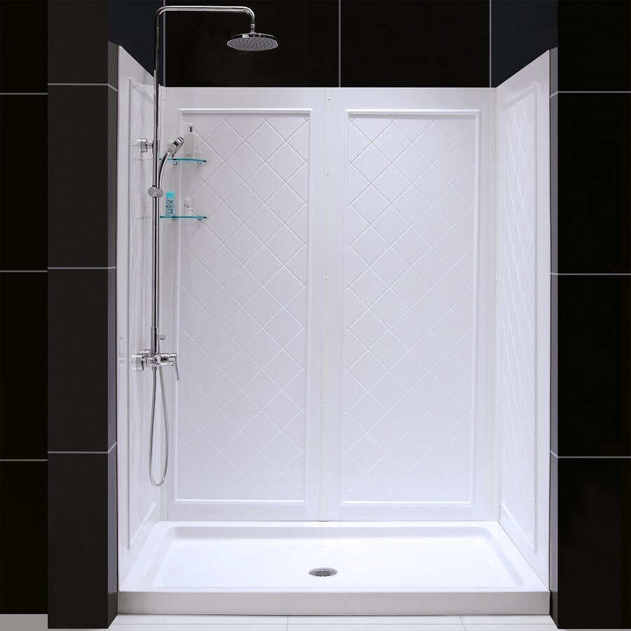 DreamLine Shower Base and Back Walls White Acrylic Wall and Floor 2-Piece Alcove Shower Kit (Common: 36-in x 60-in; Actual: 76.75-in x 36-in x 60-in)