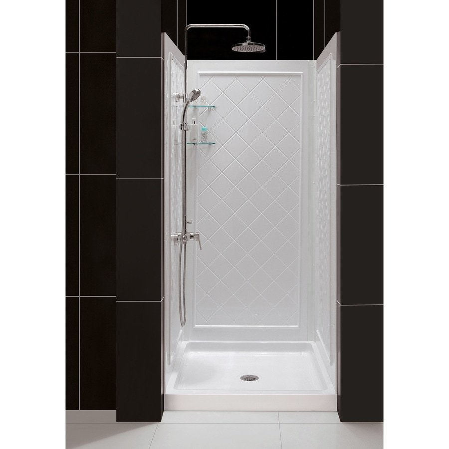 DreamLine Shower Base and Back Walls White Acrylic Wall and Floor 2-Piece Alcove Shower Kit (Common: 36-in x 36-in; Actual: 76.75-in x 36-in x 36-in)