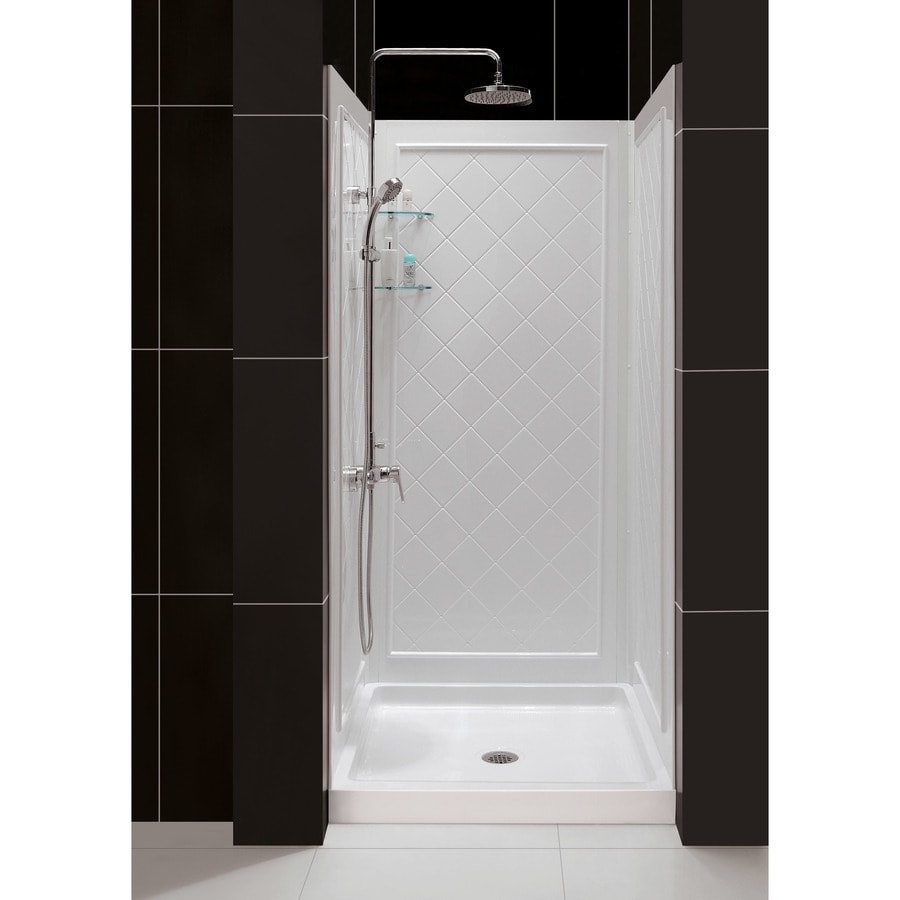 DreamLine White 2 Piece Alcove Shower Kit  Common 32 in x Shop Stalls Kits at Lowes com