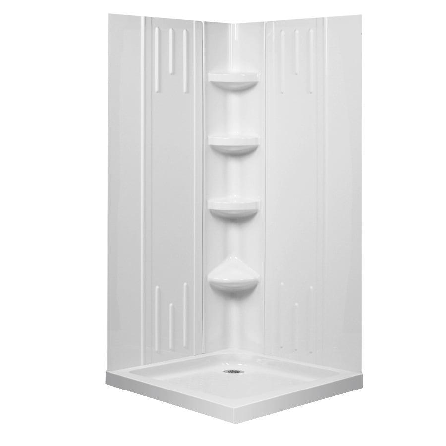 Superbe DreamLine Shower Backwall Kit White Acrylic Wall And Floor Square 4 Piece Corner  Shower Kit
