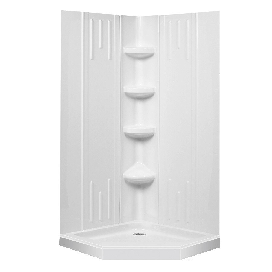 DreamLine Shower Backwall Kit White Acrylic Wall and Floor Neo Angle  4 Piece CornerShop DreamLine Shower Backwall Kit White Acrylic Wall and Floor  . Lowes Corner Shower Kit. Home Design Ideas