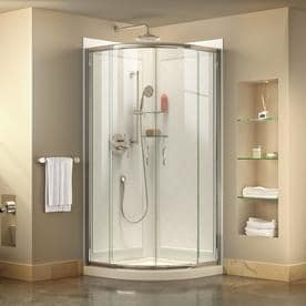 DreamLine Prime White Acrylic Wall And Floor Round 3 Piece Corner Shower  Kit (Actual
