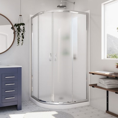 Shower Base And Walls Kit.Prime Chrome With White Base Acrylic Wall Floor Round 3 Piece Corner Shower Kit Actual 76 75 In X 38 In X 38 In