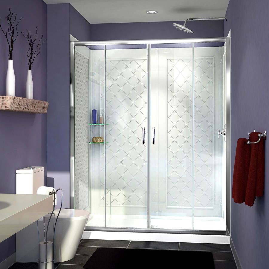 DreamLine Visions Chrome Acrylic Wall Acrylic Floor 3-Piece Alcove Shower Kit (Common: 34-in x 60-in; Actual: 76.75-in X
