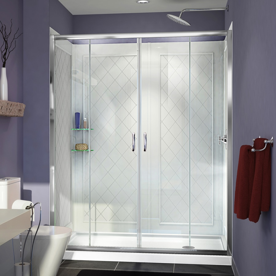 DreamLine Visions Chrome Acrylic Wall and Floor 3-Piece Alcove Shower Kit (Common: 34-in x 60-in; Actual: 76.75-in x 34-in x 60-in)