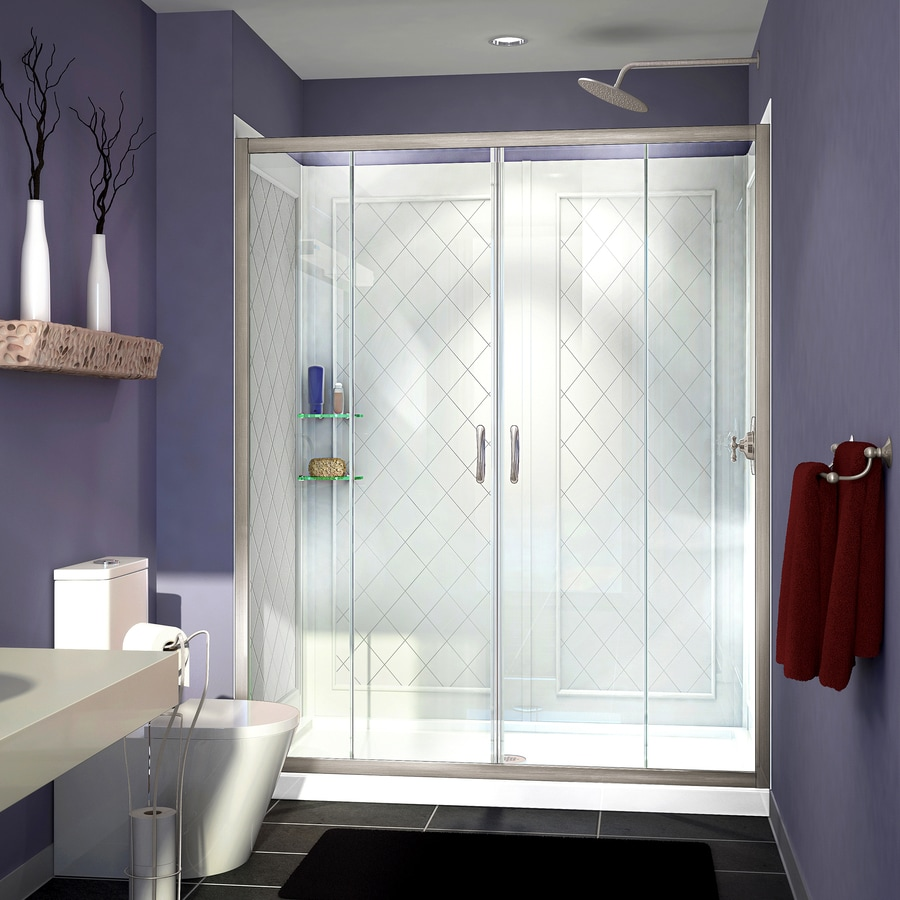 DreamLine Visions Brushed Nickel Acrylic Wall Acrylic Floor 3-Piece Alcove Shower Kit (Common: 34-in x 60-in; Actual: 76.75-in x 34-in x 60-in)