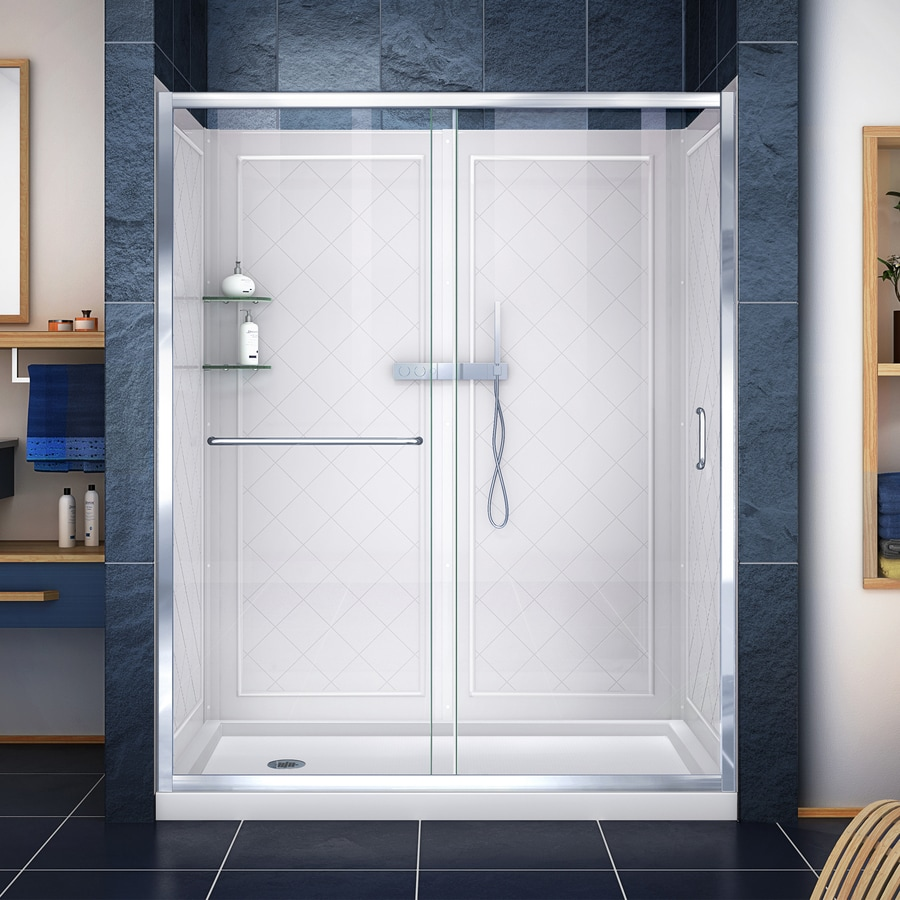 DreamLine Infinity-Z Chrome Acrylic Wall and Floor 3-Piece Alcove Shower Kit (Common: 32-in x 60-in; Actual: 76.75-in x 32-in x 60-in)