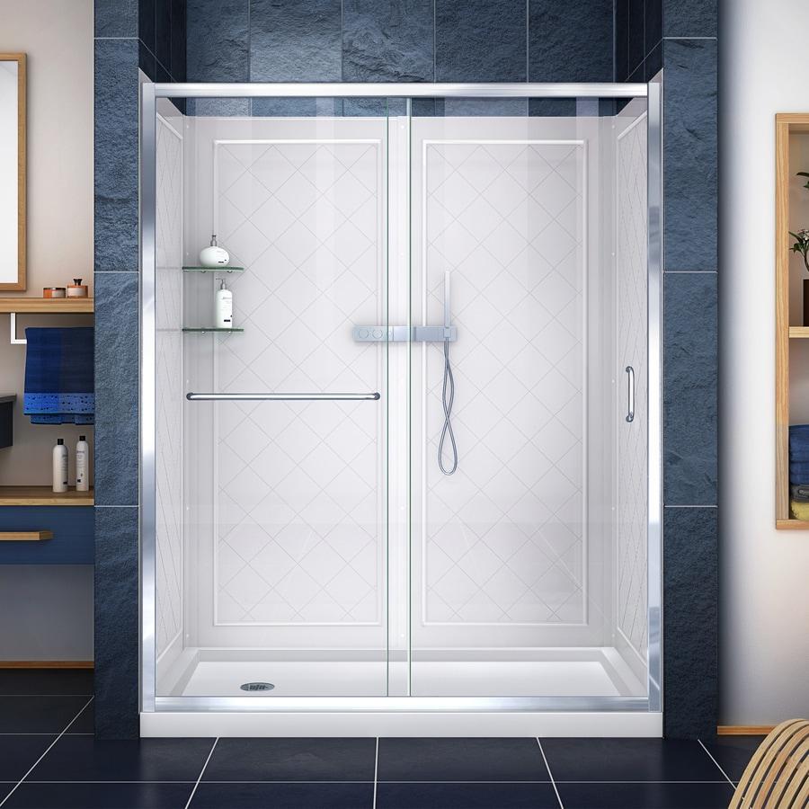 DreamLine Infinity-Z Chrome 3-Piece Alcove Shower Kit (Common: 34-in x 60-in; Actual: 34-in x 60-in)