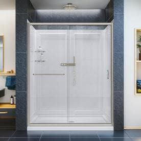 dreamline infinityz acrylic wall and floor 3piece alcove shower kit common