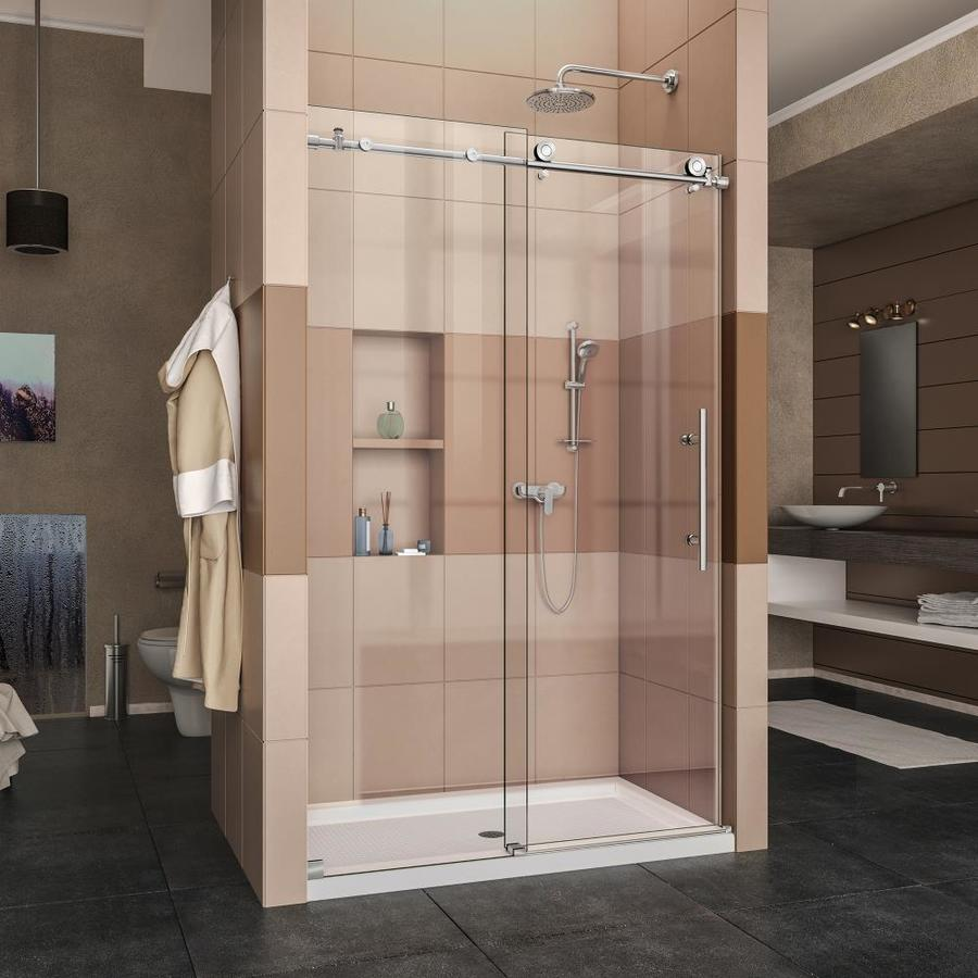 DreamLine Enigma-X Polished Stainless Steel Acrylic Floor 2-Piece Alcove Shower Kit (Common: 36-in x 48-in; Actual: 78.75-in x 36-in x 48-in)