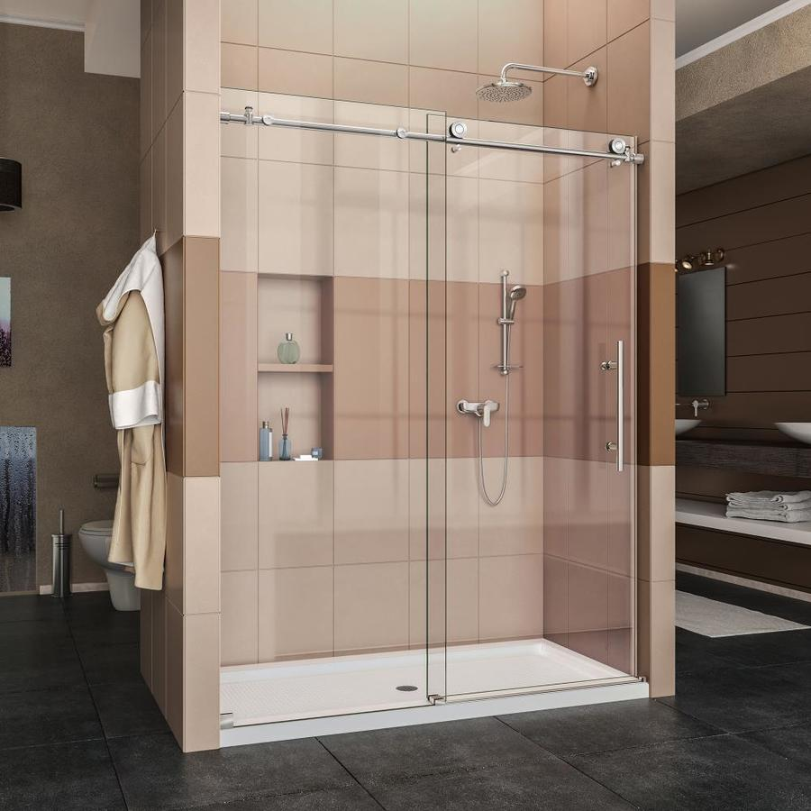 DreamLine Enigma-X Polished Stainless Steel Acrylic Floor 2-Piece Alcove Shower Kit (Common: 32-in x 60-in; Actual: 78.75-in x 32-in x 60-in)