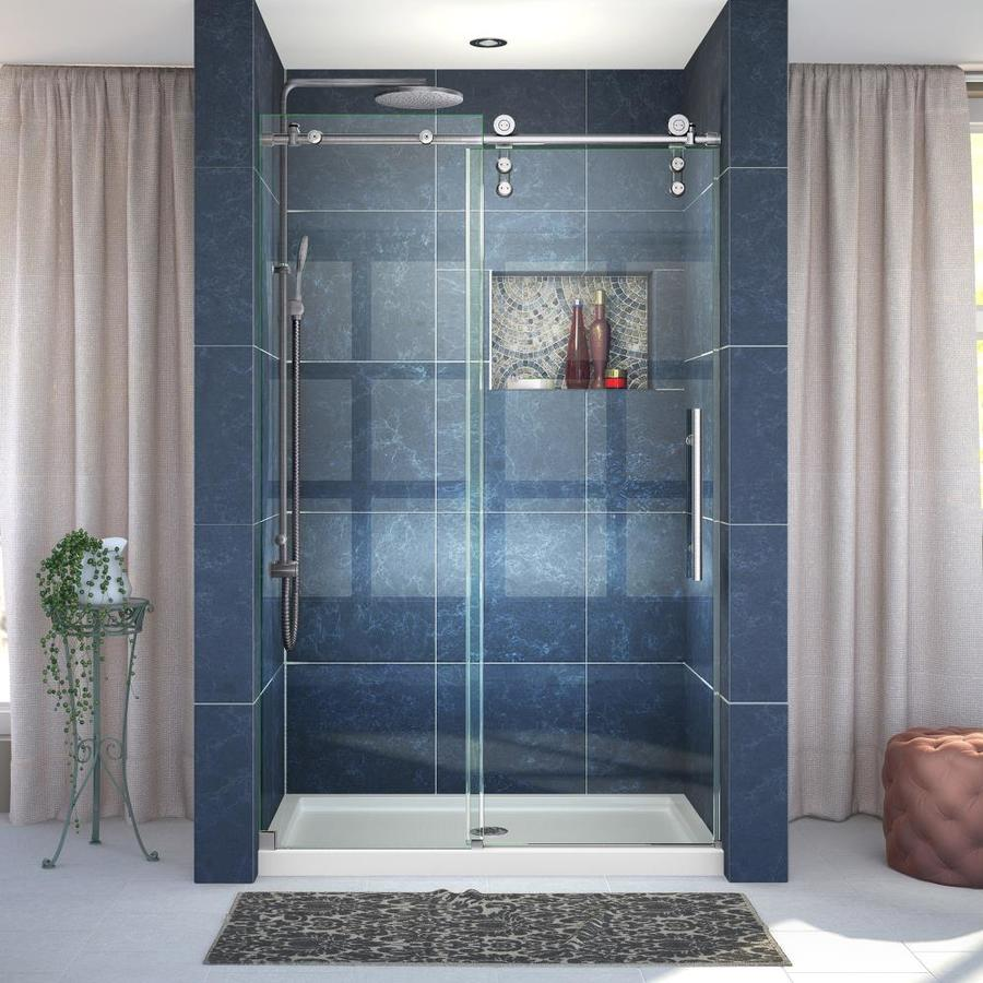DreamLine Enigma-Z Brushed Stainless Steel Walls Not Included Wall Acrylic Floor 2-Piece Alcove Shower Kit (Common: 36-in x 48-in; Actual: 78.75-in X
