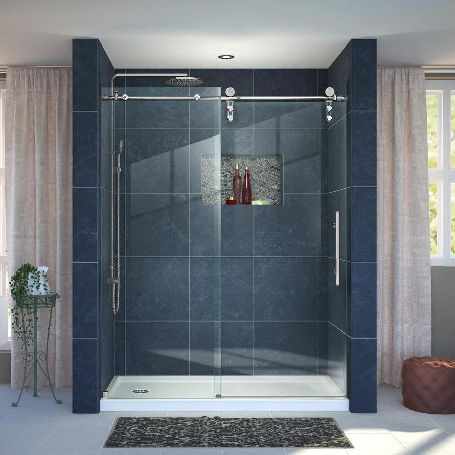 DreamLine Enigma-Z Polished Stainless Steel Walls Not Included Wall Acrylic Floor 2-Piece Alcove Shower Kit (Common: 36-in x 60-in; Actual: 78.75-in X