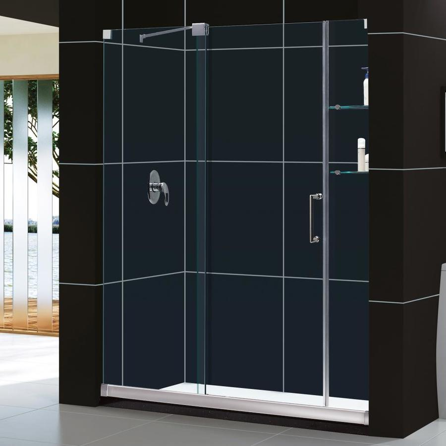 DreamLine Mirage Brushed Nickel Acrylic Floor 2-Piece Alcove Shower Kit (Common: 36-in x 60-in; Actual: 74.75-in x 36-in x 60-in)