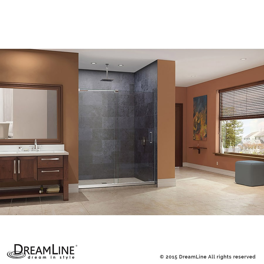 DreamLine Mirage Chrome Acrylic Floor 2-Piece Alcove Shower Kit (Common: 36-in x 60-in; Actual: 74.75-in x 36-in x 60-in)