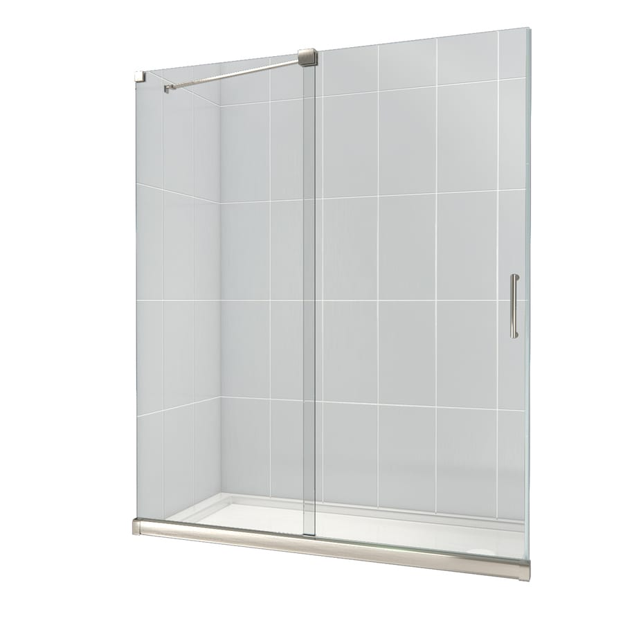 DreamLine Mirage Brushed Nickel Acrylic Floor 2-Piece Alcove Shower Kit (Common: 30-in x 60-in; Actual: 74.75-in x 30-in x 60-in)