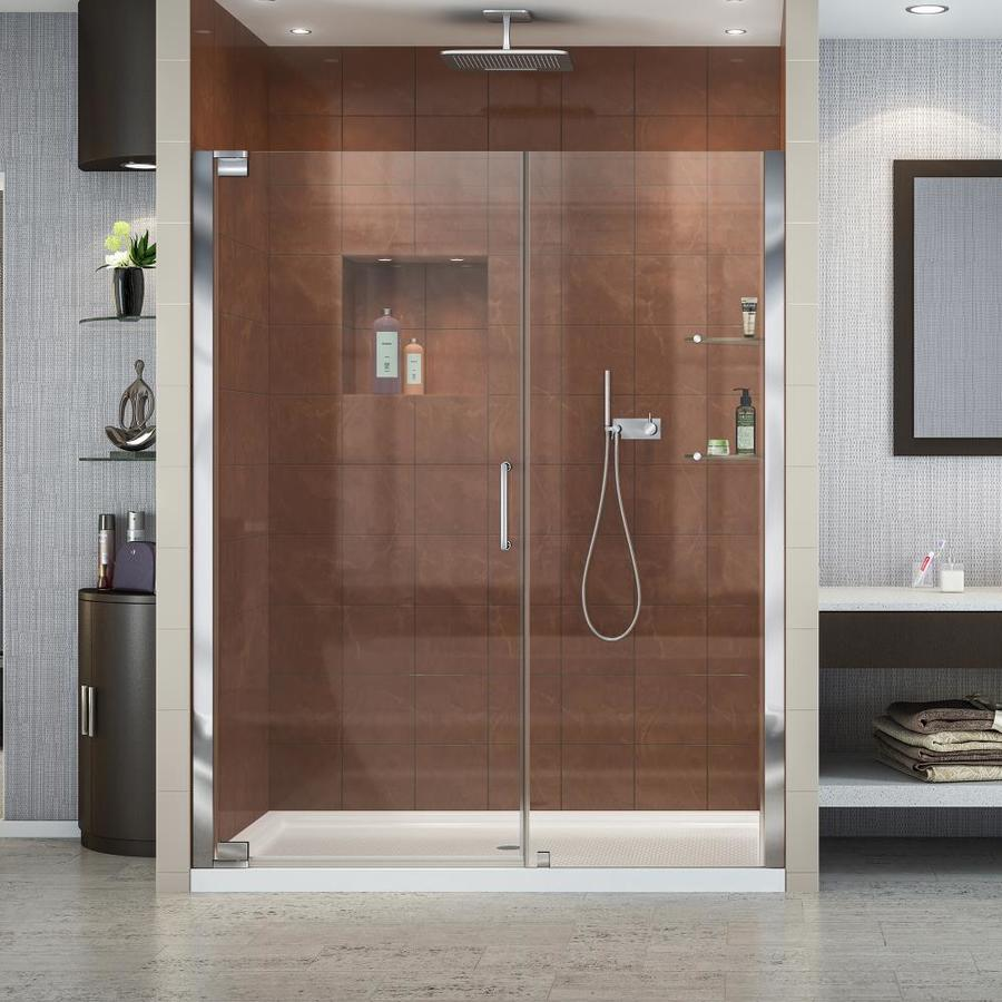 DreamLine Elegance Chrome Acrylic Floor 2-Piece Alcove Shower Kit (Common: 34-in x 60-in; Actual: 74.75-in x 34-in x 60-in)