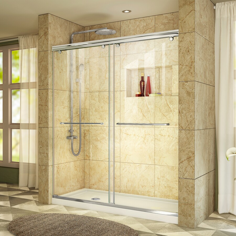 DreamLine Charisma Chrome Acrylic Floor 2-Piece Alcove Shower Kit (Common: 60-in x 32-in; Actual: 78.75-in x 60-in x 32-in)