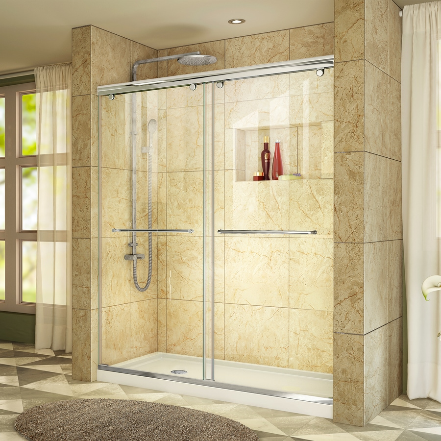 DreamLine Charisma Chrome Walls Not Included Wall and Floor 2-Piece Alcove Shower Kit (Common: 60-in x 34-in; Actual: 78.75-in x 60-in x 34-in)