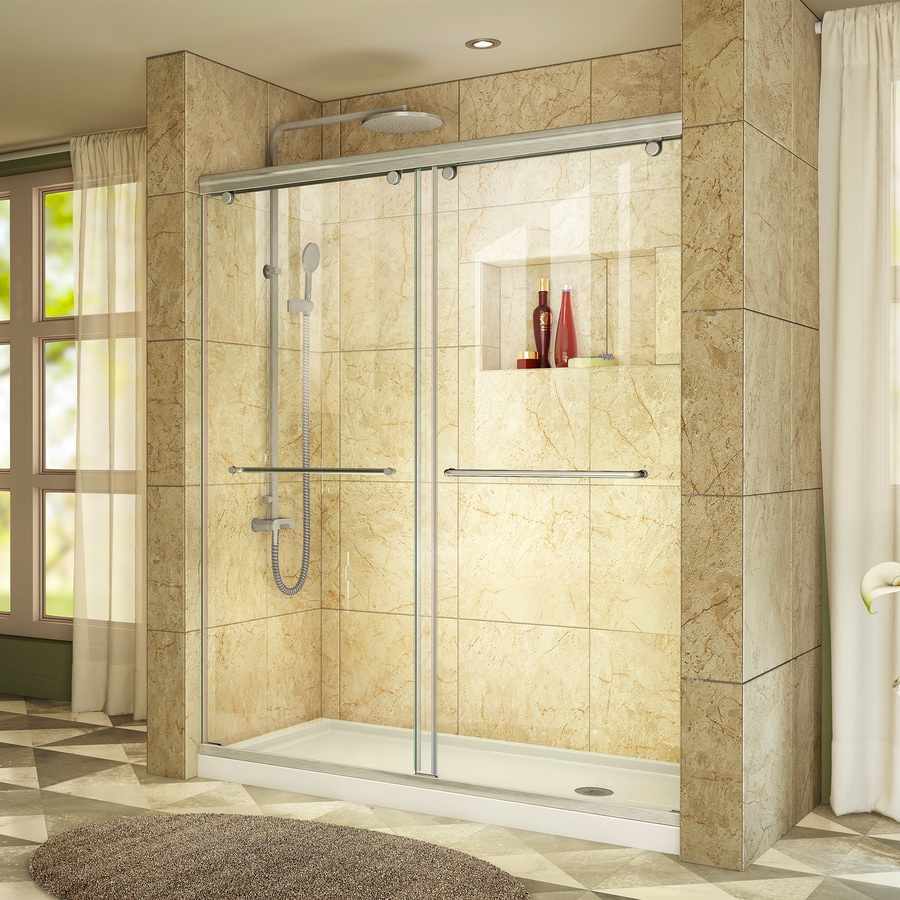 DreamLine Charisma Brushed Nickel Acrylic Floor 2-Piece Alcove Shower Kit (Common: 60-in x 30-in; Actual: 78.75-in x 60-in x 30-in)