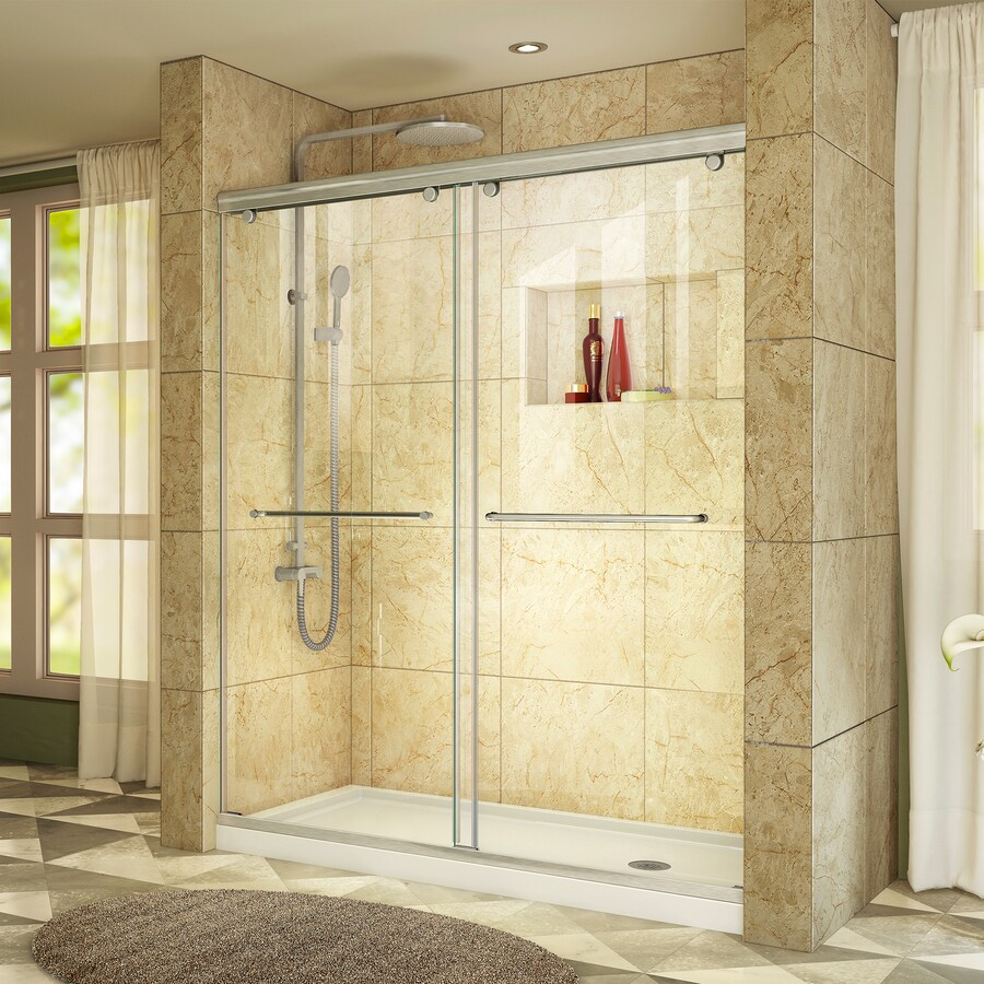 DreamLine Charisma Brushed Nickel Acrylic Floor 2-Piece Alcove Shower Kit (Common: 60-in x 32-in; Actual: 78.75-in x 60-in x 32-in)