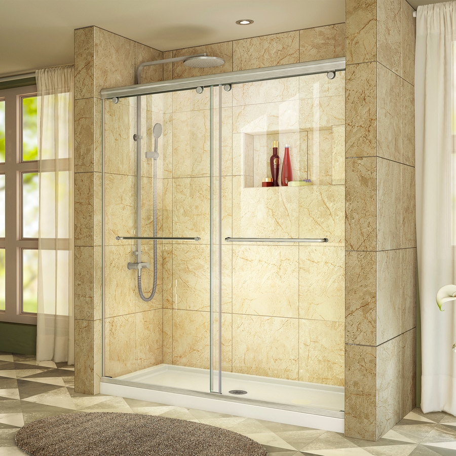 DreamLine Charisma Brushed Nickel Acrylic Floor 2-Piece Alcove Shower Kit (Common: 60-in x 34-in; Actual: 78.75-in x 60-in x 34-in)