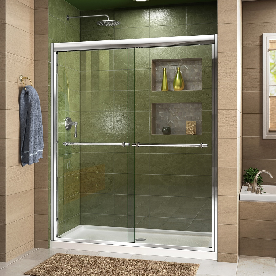 DreamLine Duet Chrome Acrylic Floor 2-Piece Alcove Shower Kit (Common: 30-in x 60-in; Actual: 74.75-in x 30-in x 60-in)