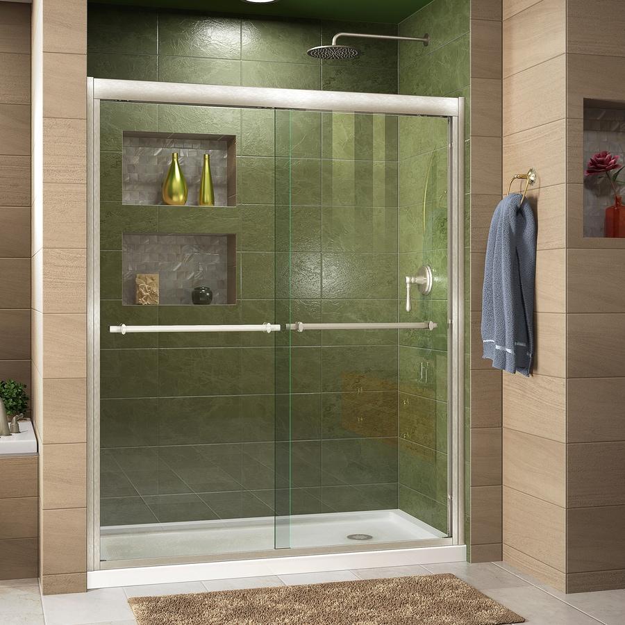 DreamLine Duet Brushed Nickel Acrylic Floor 2-Piece Alcove Shower Kit (Common: 34-in x 60-in; Actual: 74.75-in x 34-in x 60-in)