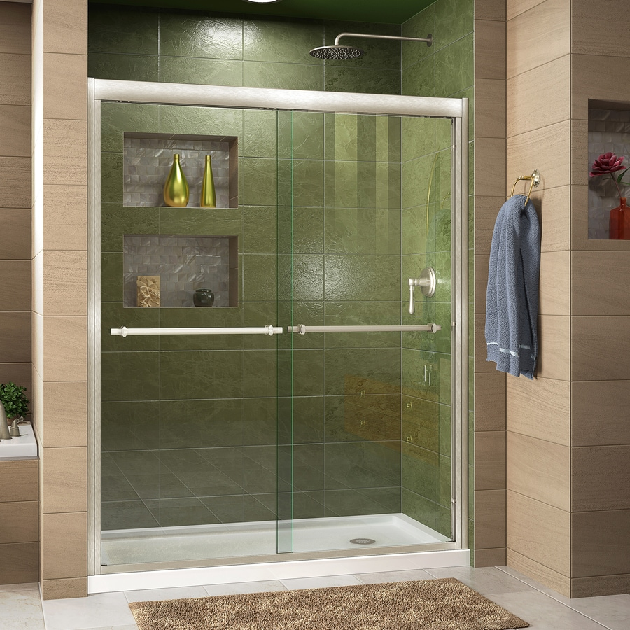 DreamLine Duet Brushed Nickel Acrylic Floor 2-Piece Alcove Shower Kit (Common: 36-in x 60-in; Actual: 74.75-in x 36-in x 60-in)