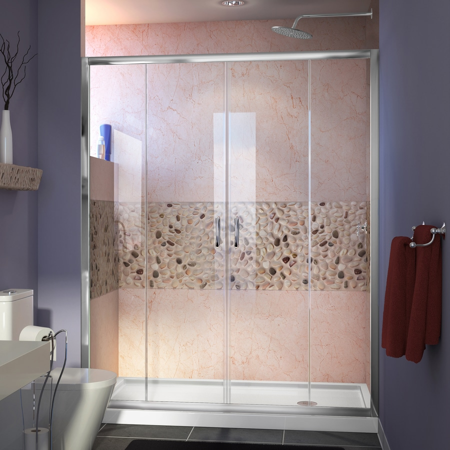 DreamLine Visions Chrome Acrylic Floor 2-Piece Alcove Shower Kit (Common: 30-in x 60-in; Actual: 74.75-in x 30-in x 60-in)
