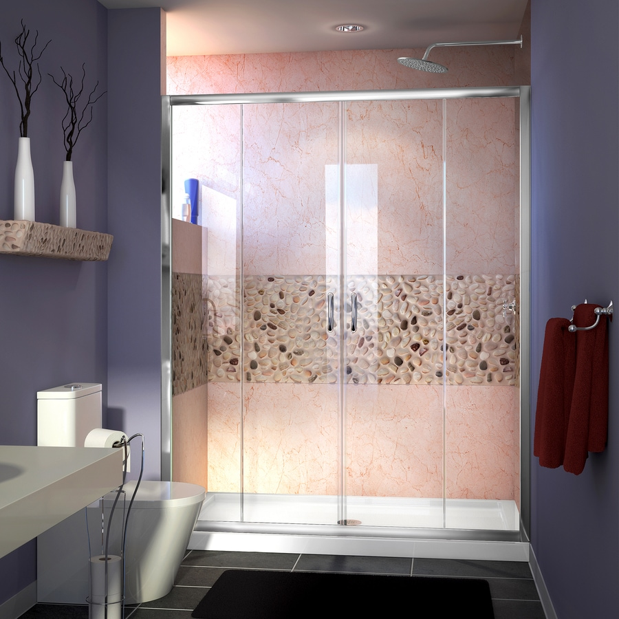 DreamLine Visions Chrome Walls Not Included Wall Acrylic Floor 2-Piece Alcove Shower Kit (Common: 32-in x 60-in; Actual: 74.75-in X