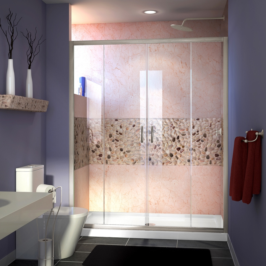 DreamLine Visions Brushed Nickel Walls Not Included Wall Acrylic Floor 2-Piece Alcove Shower Kit (Common: 30-in x 60-in; Actual: 74.75-in X