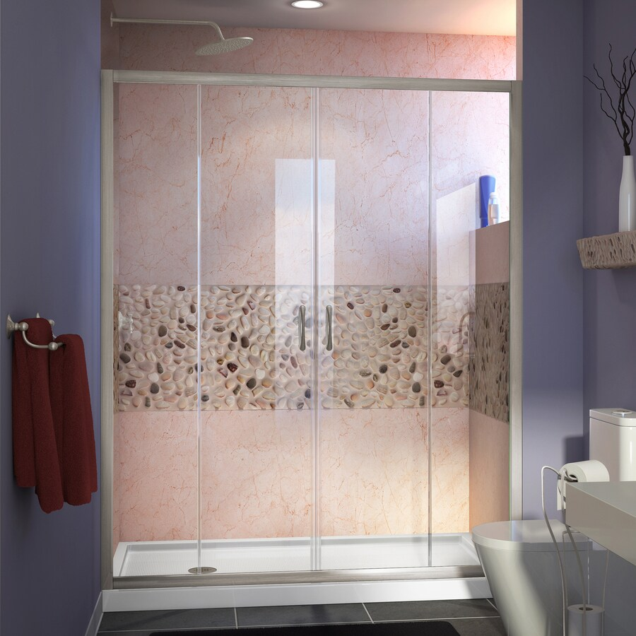 DreamLine Visions Brushed Nickel Acrylic Floor 2-Piece Alcove Shower Kit (Common: 34-in x 60-in; Actual: 74.75-in x 34-in x 60-in)