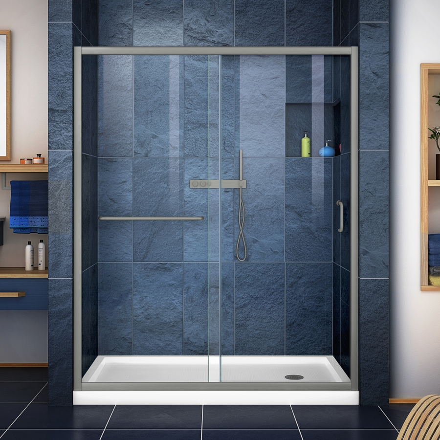DreamLine Infinity-Z Brushed Nickel Acrylic Floor 2-Piece Alcove Shower Kit (Common: 34-in x 60-in; Actual: 74.75-in x 34-in x 60-in)