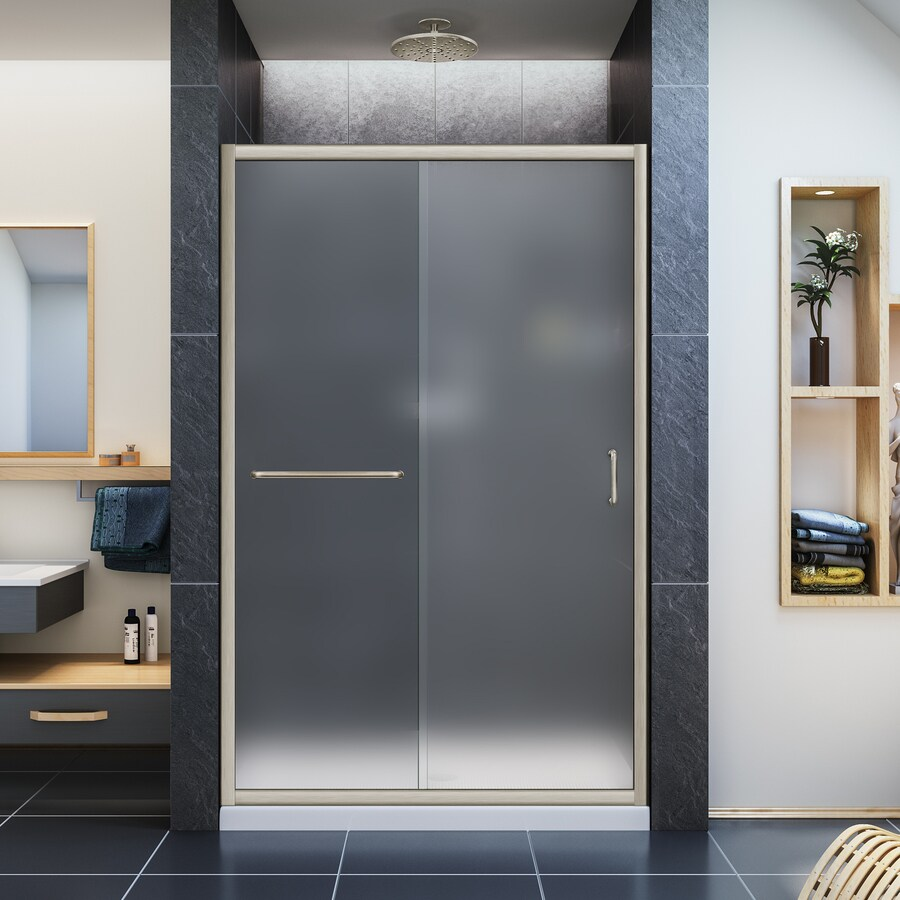 DreamLine Infinity-Z Brushed Nickel Walls Not Included Wall Acrylic Floor 2-Piece Alcove Shower Kit (Common: 36-in x 48-in; Actual: 74.75-in X