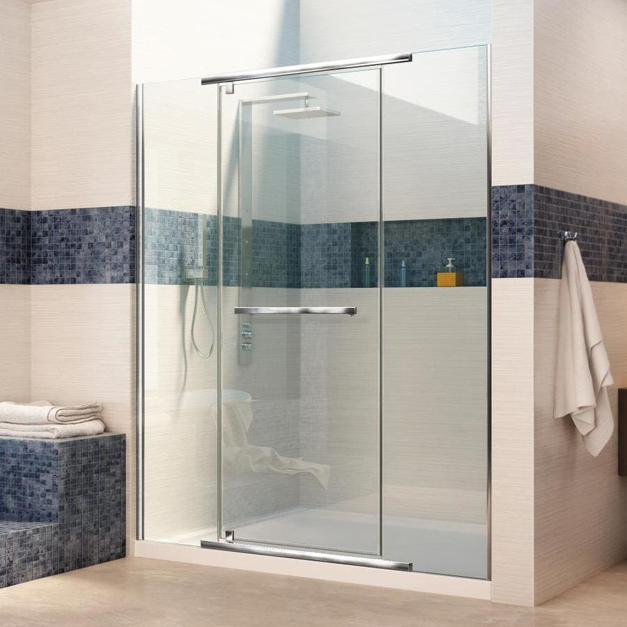 DreamLine Vitreo-X Chrome Acrylic Floor 2-Piece Alcove Shower Kit (Common: 34-in x 60-in; Actual: 74.75-in x 34-in x 60-in)