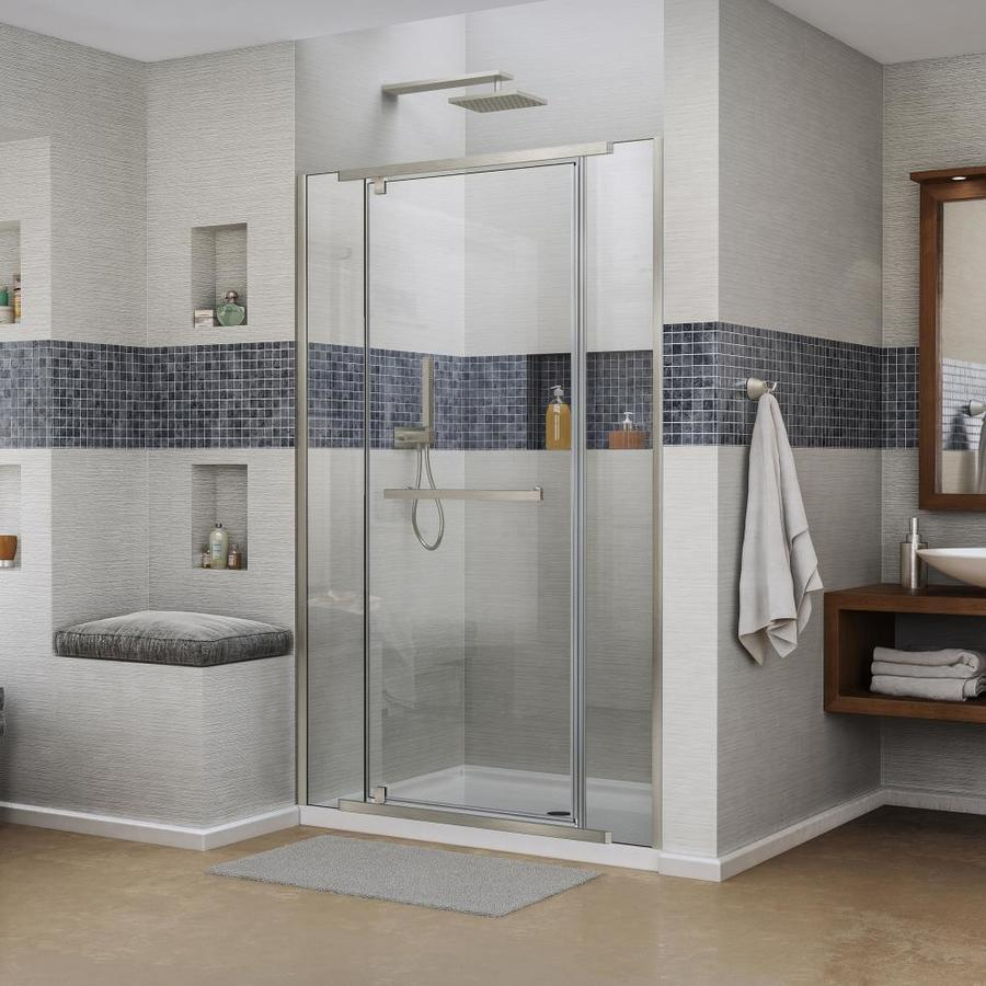 DreamLine Vitreo-X Brushed Nickel Acrylic Floor 2-Piece Alcove Shower Kit (Common: 34-in x 60-in; Actual: 74.75-in x 34-in x 60-in)