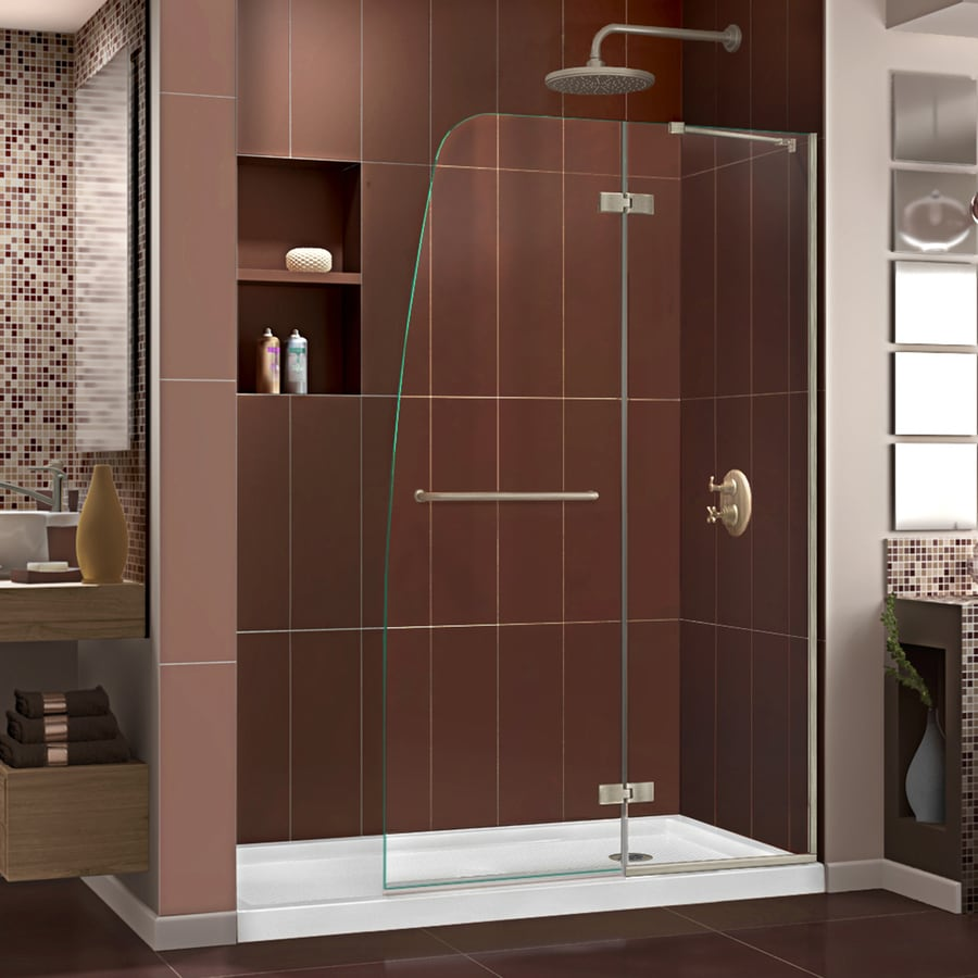DreamLine Aqua Ultra Brushed Nickel Acrylic Floor 2-Piece Alcove Shower Kit (Common: 36-in x 60-in; Actual: 74.75-in x 36-in x 60-in)