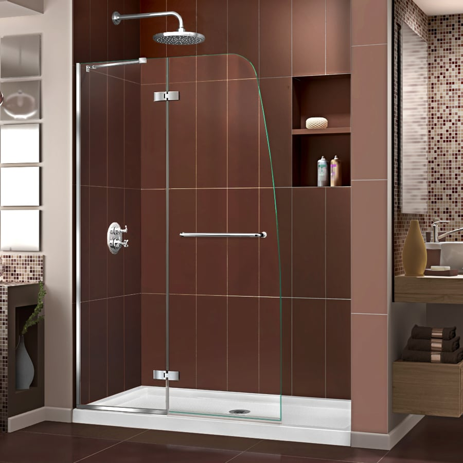 DreamLine Aqua Ultra Chrome Acrylic Floor 2-Piece Alcove Shower Kit (Common: 36-in x 48-in; Actual: 74.75-in x 36-in x 48-in)