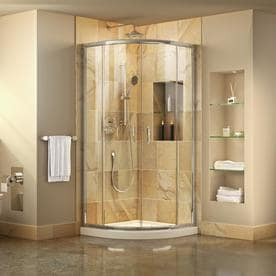 Dreamline Prime Chrome White Floor Round 2 Piece Corner Shower Kit Actual