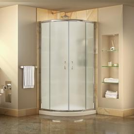 Awesome DreamLine Prime White Acrylic Floor Round 2 Piece Corner Shower Kit  (Actual: 74.75