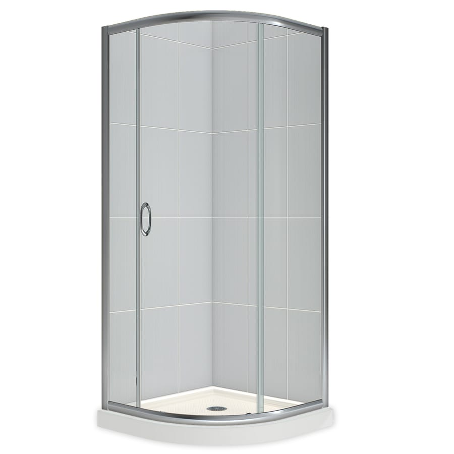 Shop DreamLine Solo White Acrylic Floor Round 2-Piece Corner Shower ...
