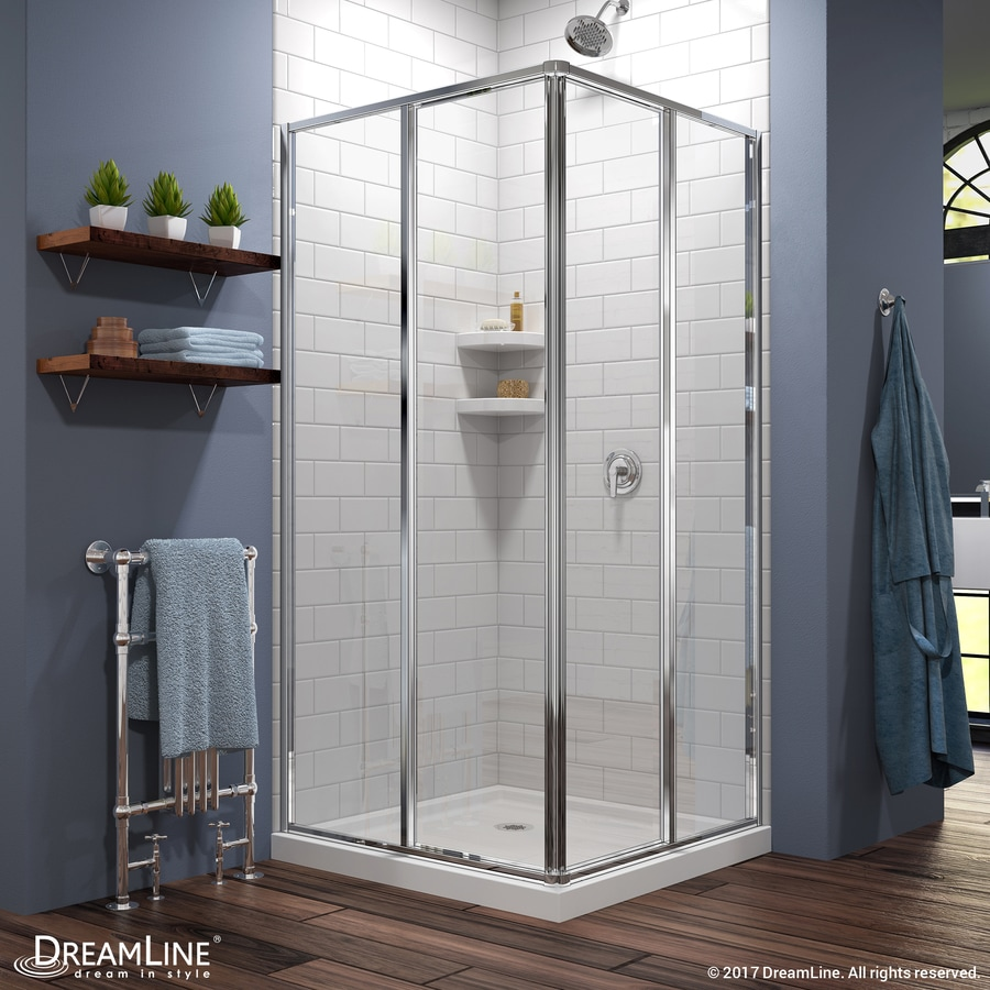 DreamLine Cornerview White Wall Acrylic Floor Square 2-Piece Corner Shower Kit (Actual: 74.75-in x 36-in x 36-in)